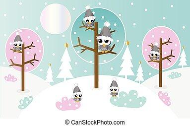 フクロウ, 風景, 冬, ファンタジー
