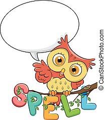 フクロウ, balloon, しばらくの間, スピーチ, 話