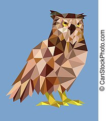 フクロウ, lowa, 三角形, style., 多角形
