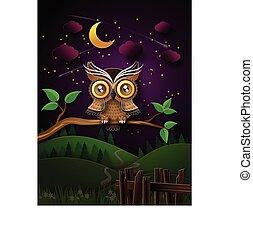 フクロウ, moon., ベクトル