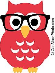 フクロウ, nerd, ガラス