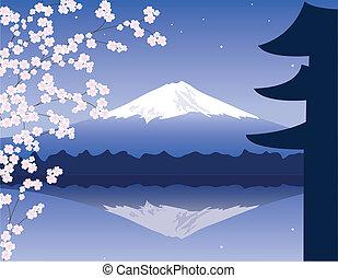 フジ, 山, ベクトル, ブランチ, sakura