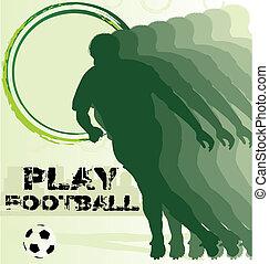 フットボール選手, サッカー, ポスター, シルエット