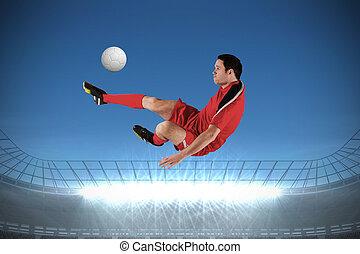 フットボール選手, 中に, 赤, ける