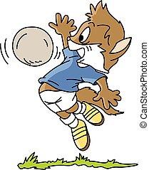 フットボール, ねこ, ベクトル, 漫画, イラスト, 遊び