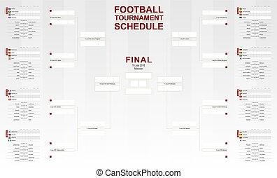 フットボール, カップ, schedule., トーナメント, ベクトル, 世界, 2018, サッカー,...