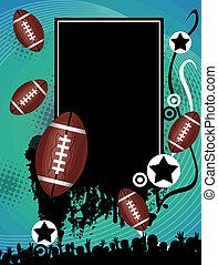 フットボール, グランジ, アメリカ人, ポスター