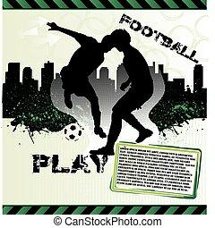 フットボール, グランジ, プレーヤー, サッカー, ポスター, 都市, シルエット