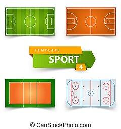 フットボール, バレーボール, -, 分野 ホッケー, バスケットボール, サッカー, template.