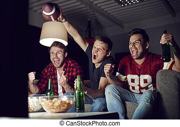 フットボール, ファン, 叫ぶこと, そして, ジェスチャーで表現する