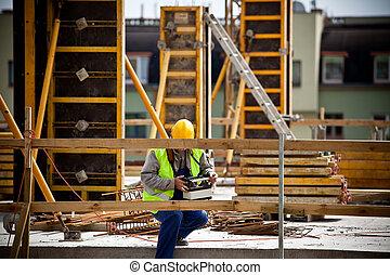 フットボール, 仕事, サイト。, 建設, 準備, 2012, ユーロ, championship., 労働者