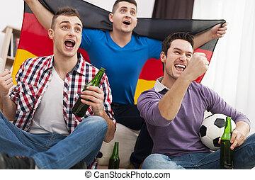フットボール, 元気づけること, 男性, ドイツ, マッチ