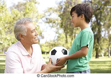 フットボール, 公園, 孫, 祖父