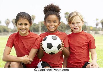 フットボール, 女の子, 若い, チーム
