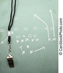 フットボール, 広域サーチ, 黒板, そして, コーチ, 笛