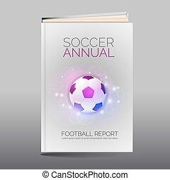 フットボール, 抽象的, 現代, book., 主題, パンフレット