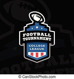 フットボール, 紋章, illustration., トーナメント, 暗い, バックグラウンド。, ベクトル, 大学, ロゴ