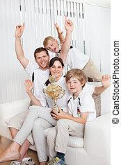 フットボール, 若い 家族, 監視
