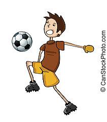 フットボール, 遊び, 子供, handdraw