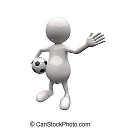 フットボール, 3d, 保有物, 人々