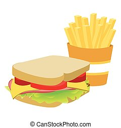フライド・ポテト, サンドイッチ, シルエット, フランス語, カラフルである