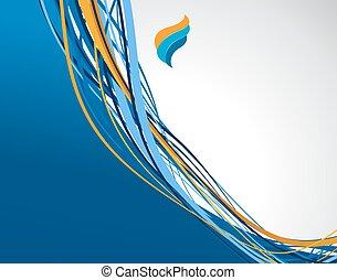 フライヤ, ∥あるいは∥, パンフレット, テンプレート, 抽象的, 青, デザイン