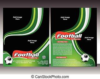 フライヤ, フットボール, デザイン, テンプレート
