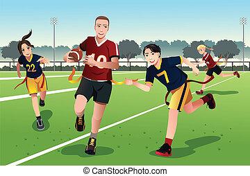 フラグフットボール, 人々, 遊び, 若い