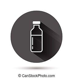 フラスコ, 容器, イラスト, 飲みなさい, アイコン, 黒, 影, concept., 長い間, ビジネス, 平ら, ベクトル, ミルクのビン, style., effect., 円, ラウンド, 背景, ボタン