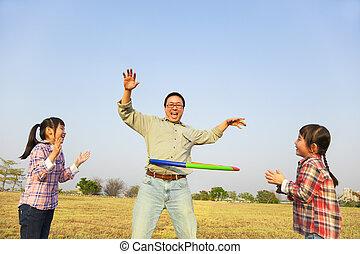 フラダンス, 家族, 屋外で, たが, 遊び, 幸せ