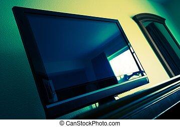 フラットなスクリーンtv, 中に, 部屋