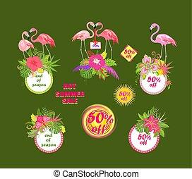 フラミンゴ, セール, 提供, やし, 暑い, 葉, 花, エキゾチック, ラベル, 夏, セット, ピンク