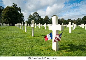 フランス語, 光景, 旗, 浜, 私達, ノルマンディー, 墓地, アメリカ人, omaha