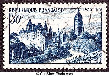 フランス語, 前景, france., 提示, キャンセルされた, bontemps, ジュラ, 郵送料, 城, arbois, 切手, vinyard