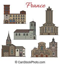 フランス語, 建築, 旅行, ランドマーク, 薄いライン, アイコン
