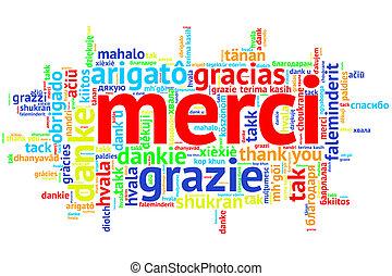 フランス語, merci, 開いた, 単語, 雲, ありがとう, 白