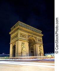 フランス, パリ, アーチ, 夜, 勝利