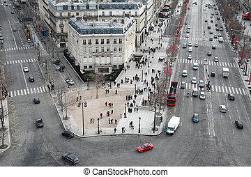 フランス, パリ, 冬, チャンピオンelysees, triomphe, 弧, パノラマ, de, 美しい