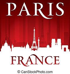 フランス, パリ, 背景, スカイライン, 都市, 赤, シルエット