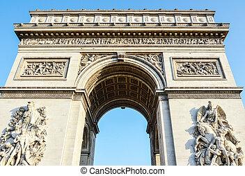 フランス, パリ, triomphe, アーチ, -, 弧, 勝利, de