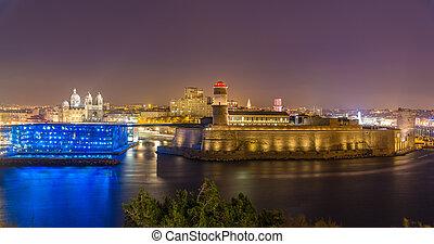 フランス, マルセイユ, 夜, saint-jean, 大聖堂, 城砦, 光景