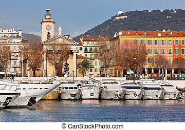 フランス, ヨット, 贅沢, すてきである, 港, 光景