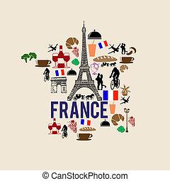 フランス, ランドマーク, 地図, シルエット, アイコン