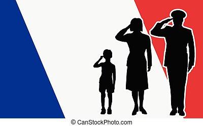 フランス, 兵士, 家族, 挨拶