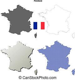 フランス, 地図, セット, アウトライン, ブランク