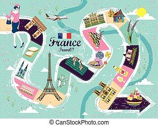 フランス, 旅行, テーブルのゲーム, ポスター