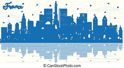 フランス, reflections., 建物都市, スカイライン, アウトライン, 青