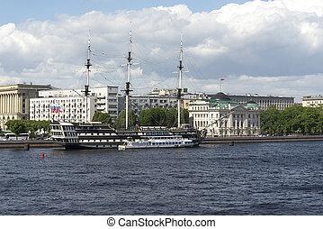 フリゲート艦, 古い, st. 。, 水辺地帯, russia., petersburg