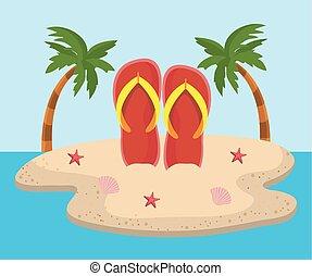 フリップフロップ, 砂ビーチ, 木, やし