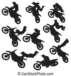 フリースタイル, motocross, シルエット
